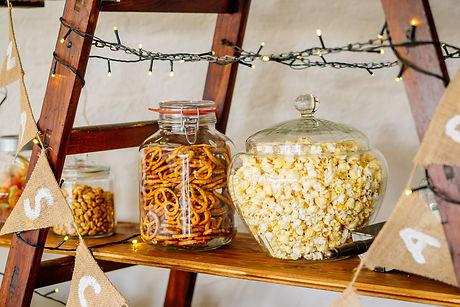 Salty Bar at autumn wedding with pretzel