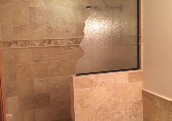 Custom glass install on shower.