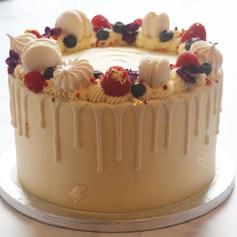 White Fruit Fruit & Flower Drip Cake