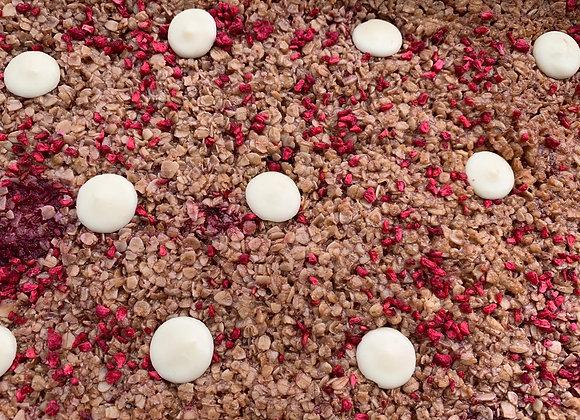 Raspberry & White Chocolate Flapjack Traybake