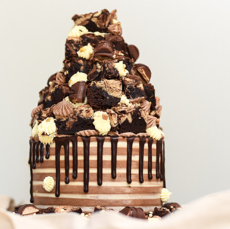 Chocolate Drip Brownie Stack