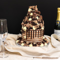 Chocolate Drip Brownie Stack