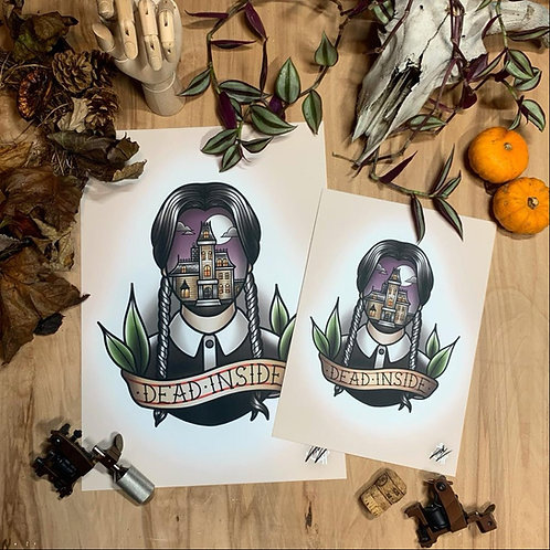 Wednesday Addams - Traditional Tattoo Flash Art Print