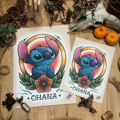 Stitch (V.2) - Traditional Tattoo Flash Art Print