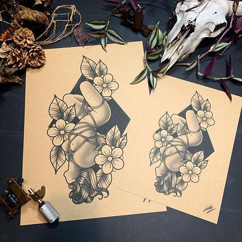 BDSM - Shibari - Traditional Tattoo Flash Art Print