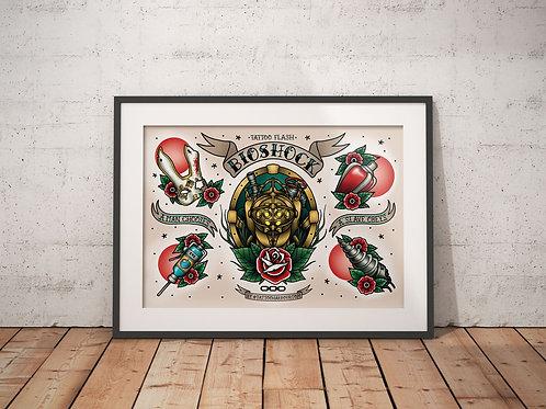 Bioshock Tattoo Flash Sheet - Traditional Tattoo Flash Art Print