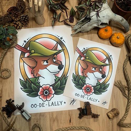 Fox Robin Hood (V.2) - Traditional Tattoo Flash Art Print