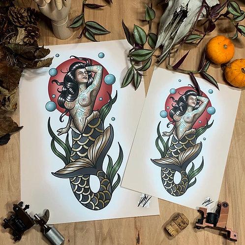 Mermaid Pinup - Tattoos Optional - Traditional Tattoo Flash Art Print