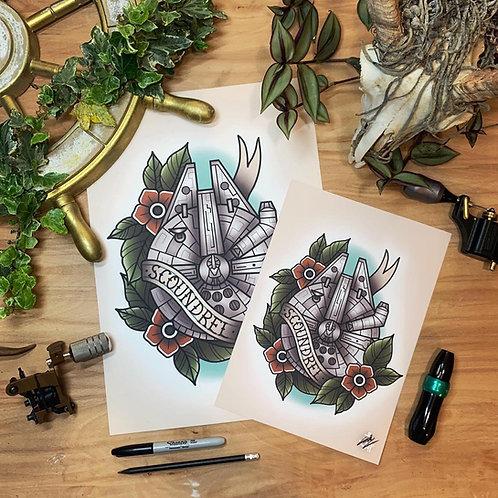 Millennium Falcon - Star Wars - Traditional Tattoo Flash Art Print