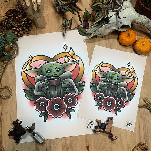 The Child - The Mandalorian - Traditional Tattoo Flash Art Print