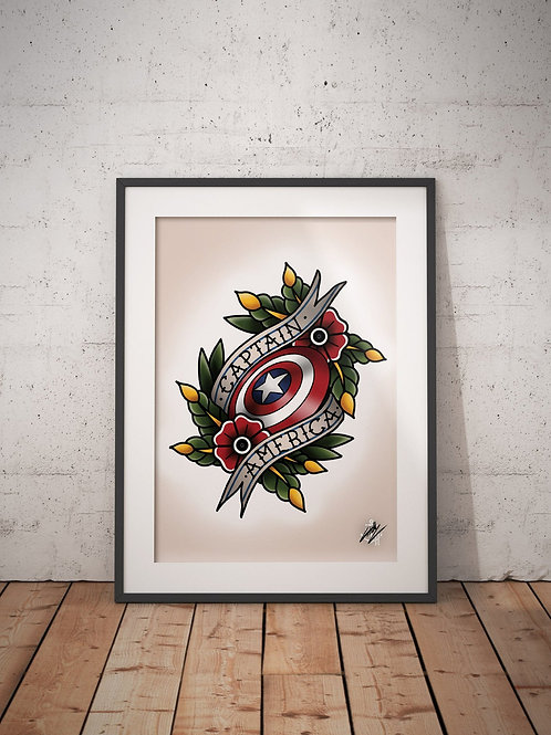 Captain America - The First Avenger - Traditional Tattoo Flash Art Print