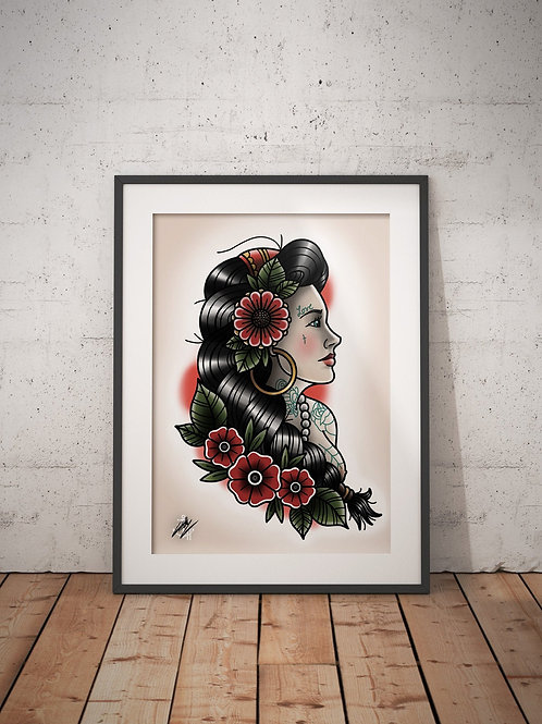 Vintage Tattooed Lady - Traditional Tattoo Flash Art Print