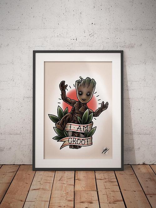 Little Groot - G.O.T.G. Vol 2 - Traditional Tattoo Flash Art Print