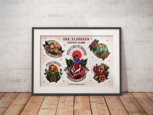 Ned Flanders Tattoo Flash Sheet - Traditional Tattoo Flash Art Print