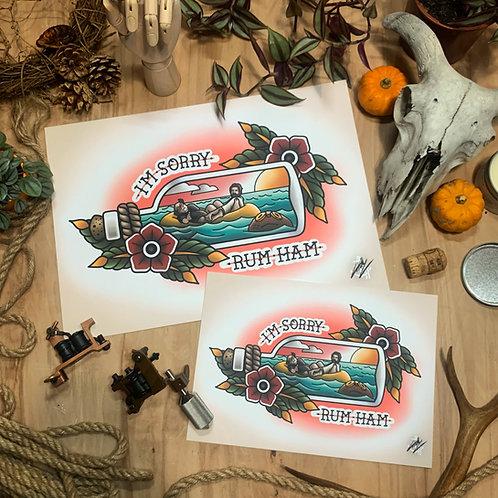 Always Sunny Rum Ham - Traditional Tattoo Flash Art Print