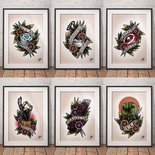 Avengers - 6 Print Set - Traditional Tattoo Flash Art Print