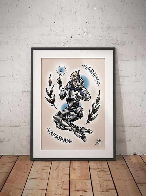 Garrus Vakarian - Mass Effect Pinup - Traditional Tattoo Flash Art Print