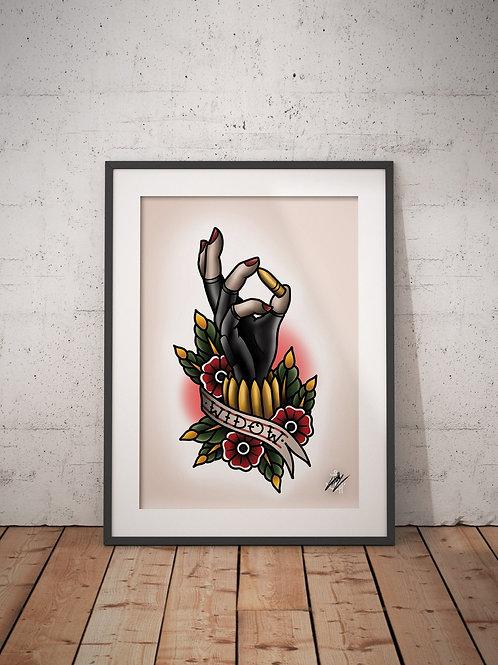 Black Widow - Natasha Romanoff - Traditional Tattoo Flash Art Print