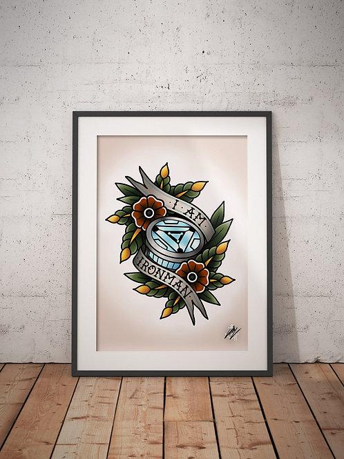 Ironman - Tony Stark - Traditional Tattoo Flash Art Print