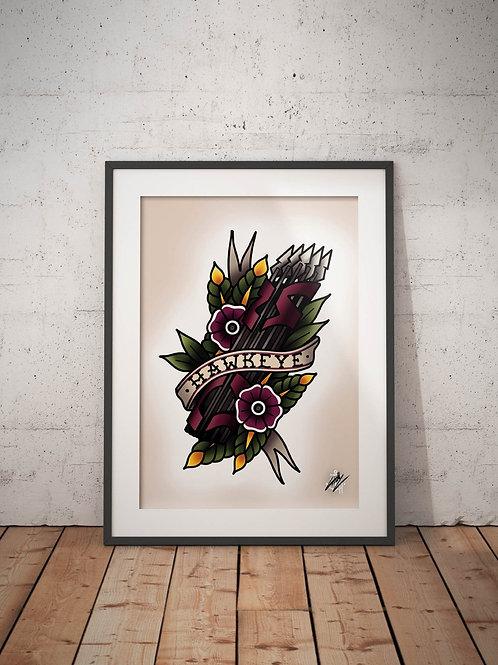 Hawkeye - Traditional Tattoo Flash Art Print