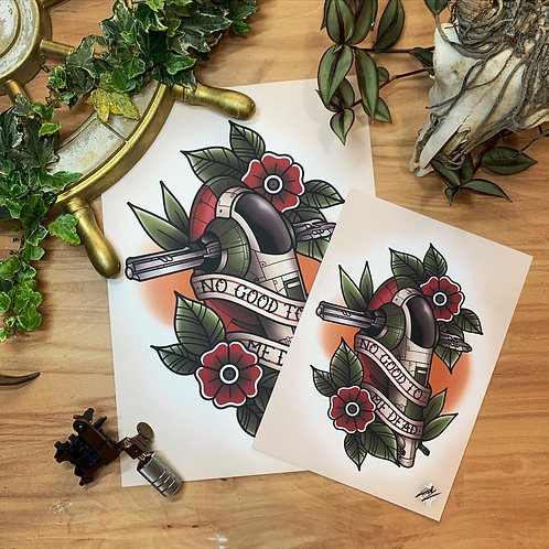Boba Fett - Slave I - Star Wars - Traditional Tattoo Flash Art Print
