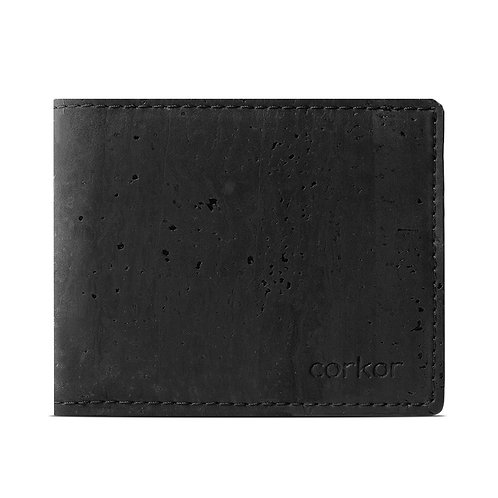 Bifold Cork Wallet for Men - Black