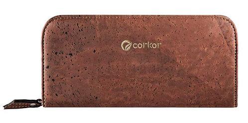 Zipper Cork Wallet for Women - Red