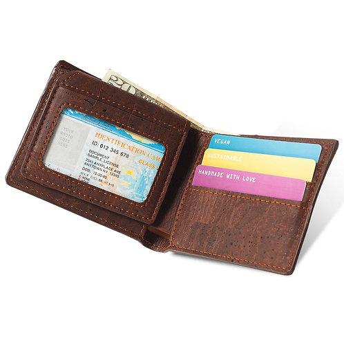 Passcase Cork Wallet - Dark Brown