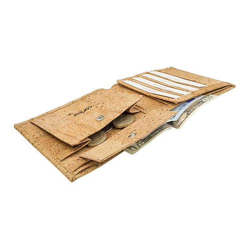 Large Mens Cork Wallet - Light Brown