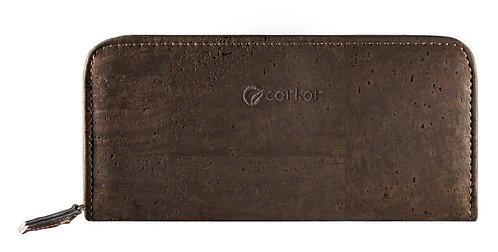 Zipper Cork Wallet for Women - Dark Brown