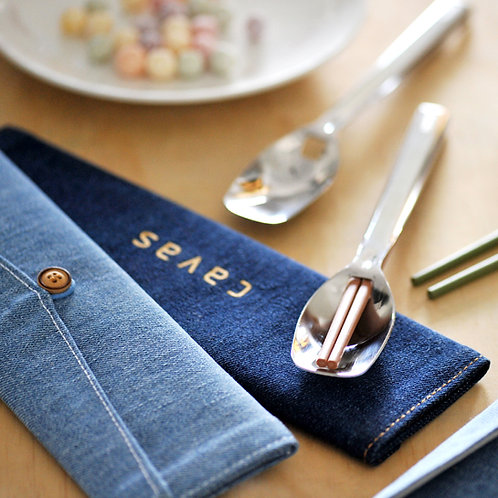 水洗丹寧餐具袋 Denim Cutlery Case