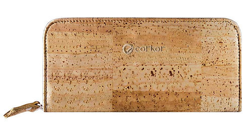 Zipper Cork Wallet for Women - Light Brown