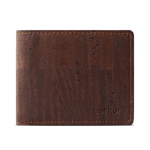 Bifold Cork Wallet for Men - Dark Brown