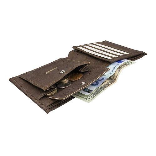 Large Mens Cork Wallet - Dark Brown