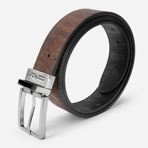 Reversible Cork Belt for Men - Black / Brown