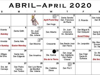 CALENDARIO DE ABRIL 2020