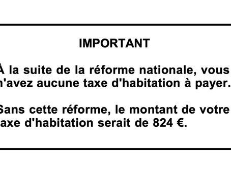 Suppression de la taxe d'habitation : promesse tenue !