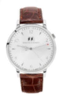 Silver Bisham Watch with Aligator Strap