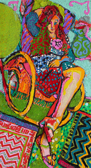 FT/4 - Rocking-chair - oil and elements/canvas - 110x62 cm