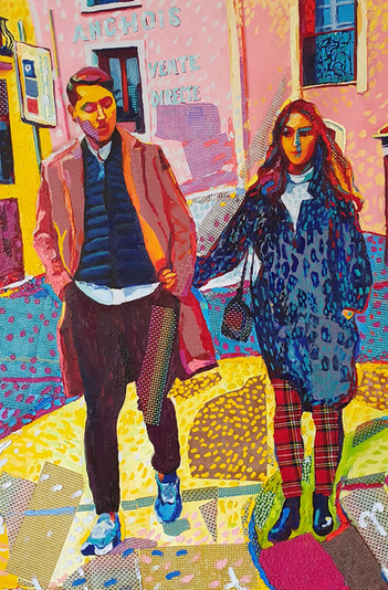 FT/28 - Les Amoureux de Collioure - oil and elements/canvas - 127x84 cm