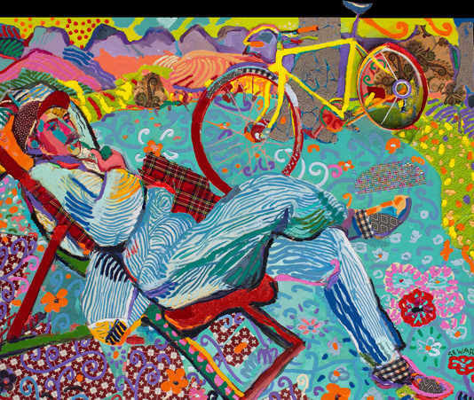 FT/3 - Cycliste dans les Alpilles - oil and elements/canvas - 131x167 cm