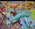 FT/3 - Cycliste dans les Alpilles - oil and elements/canvas - 131x167 cm