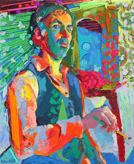 FT/19 - Autoportrait aux papillons - oil and elements/canvas - 65x54 cm  (SOLD)
