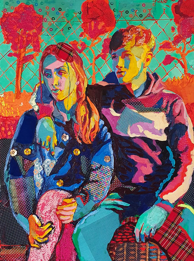 FT/17 - Liv and Brendan - oil and elements/canvas - 106x79 cm  (SOLD)