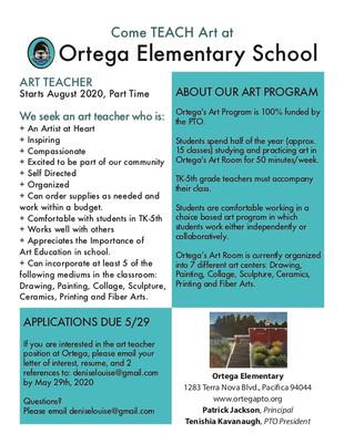 Ortega is Hiring! Part-Time Art Teacher
