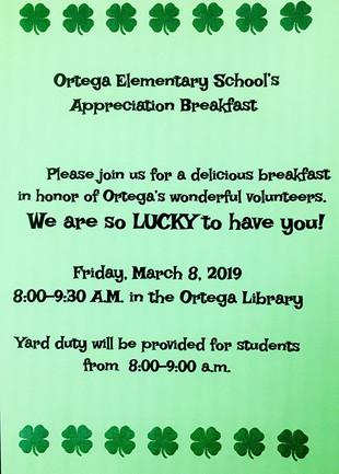 Parent & Volunteer Appreciation Breakfast Friday