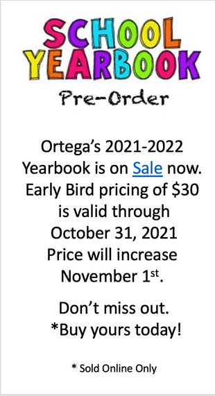 Ortega Yearbook Pre-Order! Order before Oct. 31st to get a discount!
