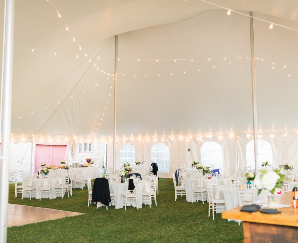 Private Farm Tented Reception Space with Espresso Lighting