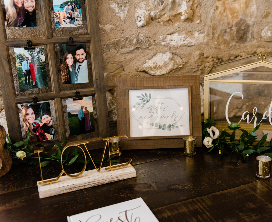 rustic elegant guest book and cards & gifts table with photo collage and loose ruscus
