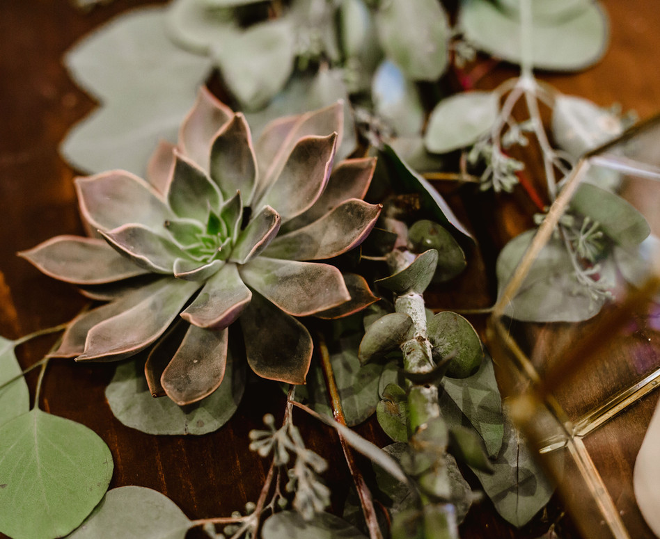 Close Up of Eucalyptus and Succulent Greenery Table Runner with Gold Geometric candle holders and sprigs of dried lavender